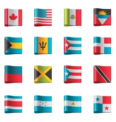 flags - north and central america vector image