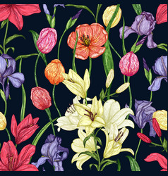 fresh seamless pattern of tulips lilies irises vector image