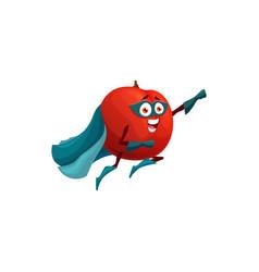 Fruit superhero apple in super hero cape cartoon vector
