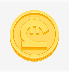 Georgian lari symbol on gold coin vector