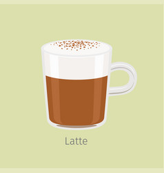 Glass mug with aromatic latte flat vector