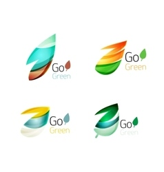 Glossy colorful leaf icon set vector image