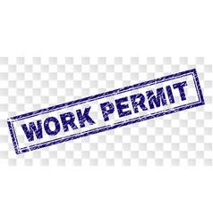 Grunge work permit rectangle stamp vector