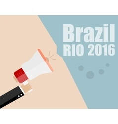 Hand Holding Megaphone with Brazil Rio 2016 vector image vector image