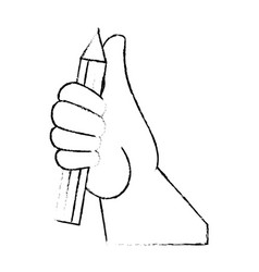 Hand picking up a pencil vector