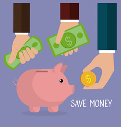 hand with coins and piggy savings vector image
