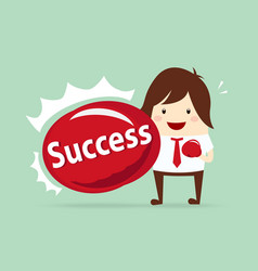 happy businessman punching success content with vector image
