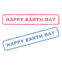 happy earth day textile stamps vector image