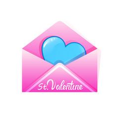 heart in envelope valentines day celebration love vector image
