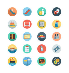 Hotel and Restaurant Flat Colored Icons 7 vector