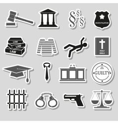 Justice and law gray stickers set eps10 vector