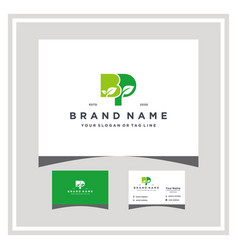 Letter bp leaf logo design and business card vector