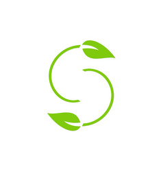 Letter s green leaf logo vector
