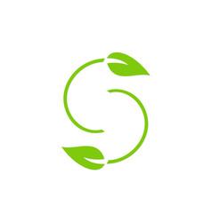 letter s green leaf logo vector image