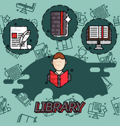 library flat concept icons vector image