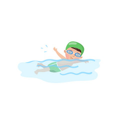 Little boy swimmer in the swimming pool kids vector