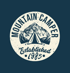 logo design mountain camper established 1985 vector image