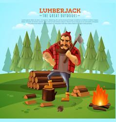 Lumberjack woodsman outdoors cartoon poster vector