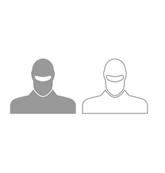 Man in balaclava or pasamontanas icon grey set vector