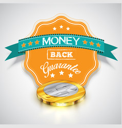money back guarantee sticker with realistic coins vector image
