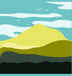 mountain landscape with a dawn an elongated vector image