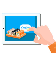 order online sushi concept vector image