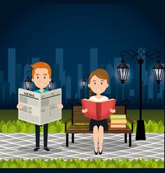 people reading on the park vector image
