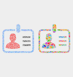 Person badge mosaic icon triangle items vector