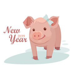 pig is a symbol of the 2019 new year greeting vector image