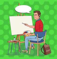 Pop art male artist painting at the studio vector