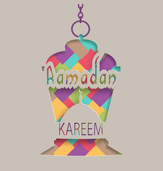 ramadan kareem greeting card a lantern in an vector image vector image