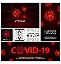 Red coronavirus virus banners set flat vector