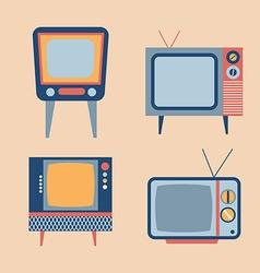 retro tv items set vector image