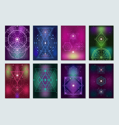 Sacred geometry colorful banners collection vector