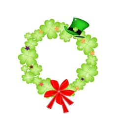 Saint Patrick Wreath of Shamrock and Red Bow vector image