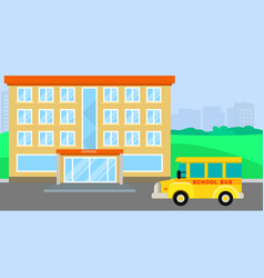 School bus arriving background flat style vector