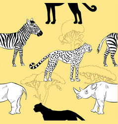seamless pattern with savanna animals vector image