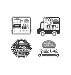 set 4 logo templates for food truck cafe vector image