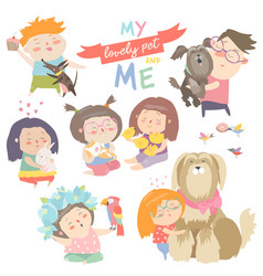 set characters children with pets vector image