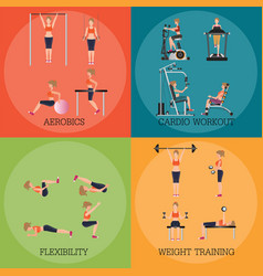 Set fitness aerobic strength and body shaping vector