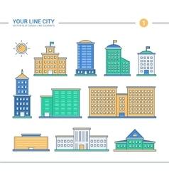 set line flat design administrative buildings vector image