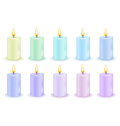 Set of color cylindrical candles vector
