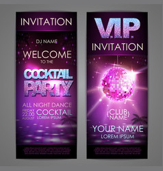 Set of disco background banners cocktail party vector