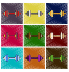 Set of flat shading style icon dumbbell vector