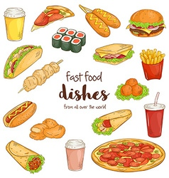 set with isolated cartoon hand drawn fast food vector image