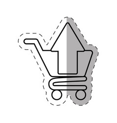 Shopping cart application cut line vector