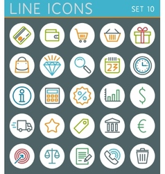 Shopping line icons set Sale web design elements vector image