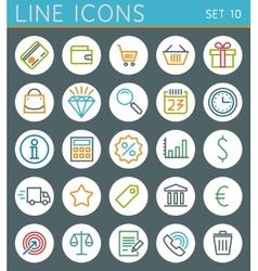 Shopping line icons set Sale web design elements vector