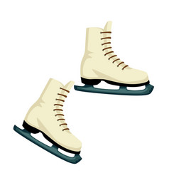 skates of leather footwear for skating with blade vector image