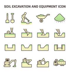 Soil excavation icon vector